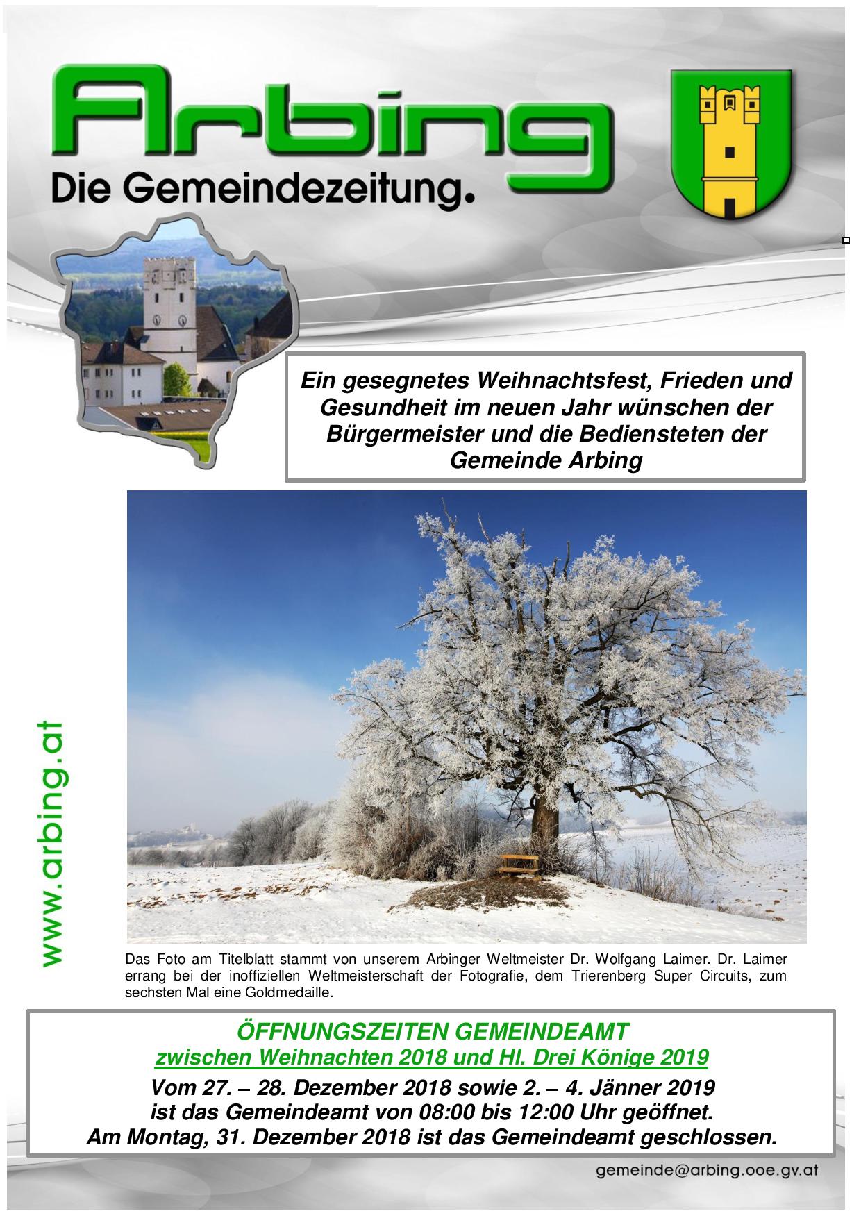 2 Mal Weihnachten 2019.Die Gemeindezeitung Nr 7 2018 Weihnachts U Neujahrsgrüße